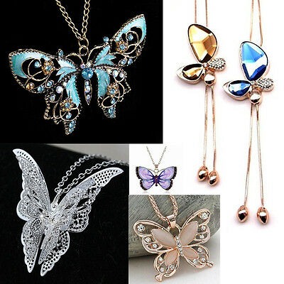 Beauty Women Rhinestone Crystal Butterfly Charm Pendant Sweater Chain Necklace