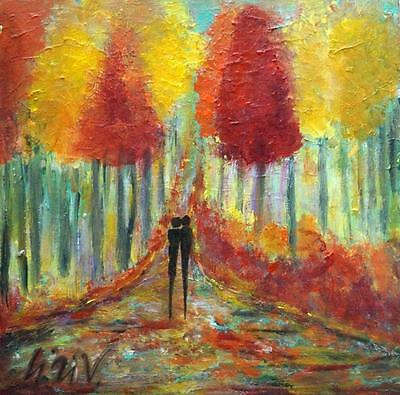 Original Oil Painting Canvas Seasons Abstract Signed by Artist, US Art