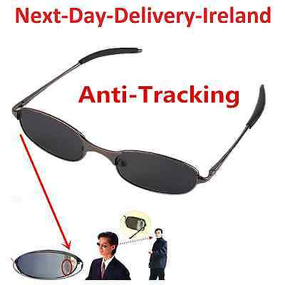 Anti-tracking Spy Glasses Sunglasses Rearview View Behind Mirror with Carry Case