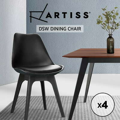 Artiss 4x Dining Chairs Padded Retro Replica Eames Eiffel DSW Cafe Kitchen Black