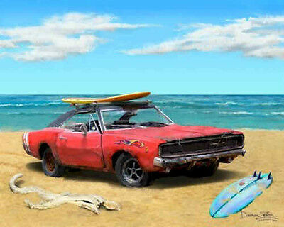 Dodge Charger Art Print Picture ~ Muscle car painting with beach surfboard