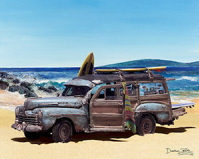 Ford Woody Art Print Painting ~ Woodie station wagon beach surfing picture