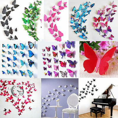 3D Butterfly Sticker Art Design Vivid Decal Wall Stickers Home Decor Room 24Pcs