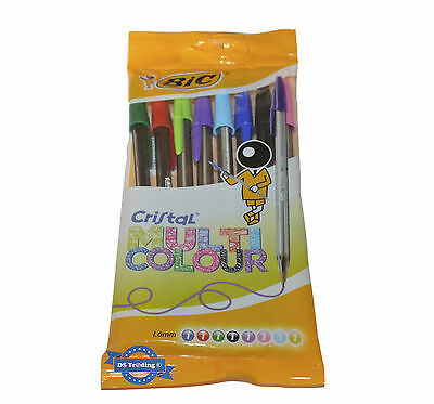 Bic Cristal Multi Colour Medium Ball Point Pens *sealed Retail Pack Of 8 Pens*