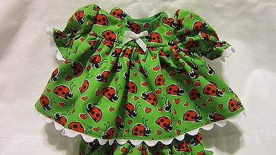 """Geen w/Red Ladybugs Dress set, fits 11""""CP Preemie, 13""""My Child, 12""""Baby Alive"""