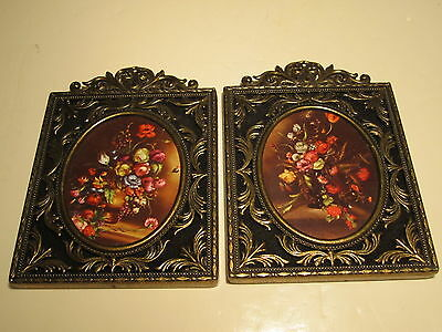2 Vintage Ornate Italian Metal Wall Pictures Frames With Floral Bouquet Scene