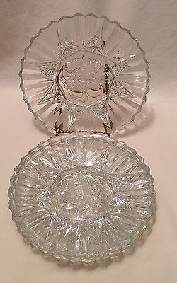 Federal Glass Pioneer Clear Fruit Center Luncheon Plates Set Of 4 Vg
