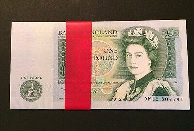 Bank Of England ONE POUND NOTES 21 CONSECUTIVE D H F SOMERSET DW19 307741-61