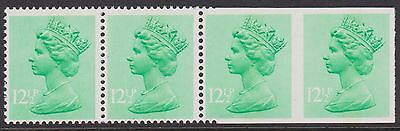 GB 12½p U/M STRIP OF 4 WITH 2 STAMPS IMPERF