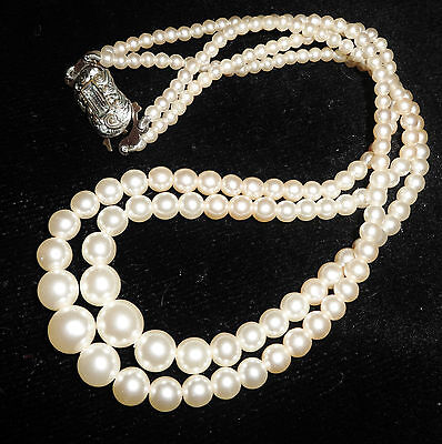 2 Strand Simulated Pearl Bead Necklace Wedding Bridal Vintage 1960 Silver Tone