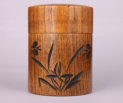 Solid Wood Carving Orchid With Tea Caddy Pot Gift Box Vintage Collectable Old