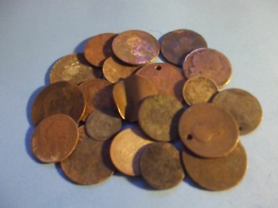 ABOUT 500GRAMS SCRAP COINS ALL DIRTY/DAMAGED.VERY WORN FROM 1800sON [#C403]