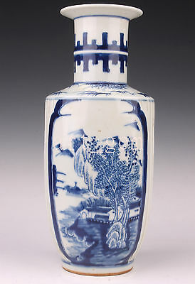Vintage Blue White Porcelain Hand-Painted Mountain Scenery Large Vase Old Colle