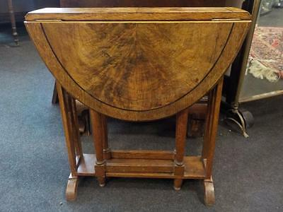Beautiful Vintage Walnut & Oak Cross Banded Occasional Drop Leaf Table