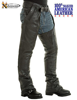 Naked American Cowhide Leather Motorcycle Chaps Removable Insulating Liner Sz 46