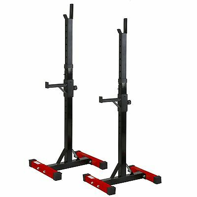 Nero 2pc Adjustable Barbell Squat Rack Spotter Stands Weight Gym Bench Power