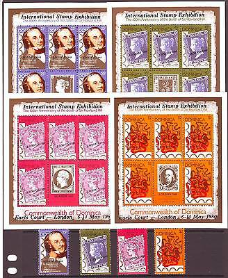 a118 - DOMINICA - SG706-709 MNH 1980 LONDON 1980 STAMP EXHIBITION + SHEETLETS