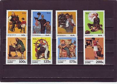 Zaire - Sg1053-1060 Mnh 1981 Norman Rockwell Paintings