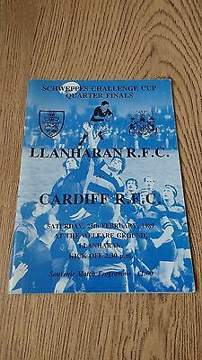 Llanharan v Cardiff 1989 Schweppes Cup Quarter-Final Rugby Union Programme