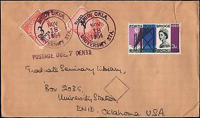 dual country franking with postage due, to Enid OK, 1964