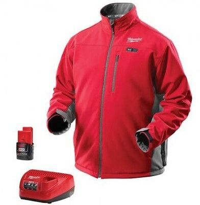 New Milwaukee 2391-L M12 Red Cordless Heated Jacket Kit Battery Charger Large