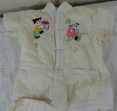 Oriental applique and embroidery Plum Blossoms childs 2 piece outfit size 4