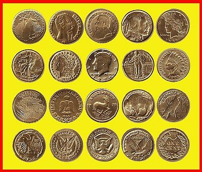Gran Lote 10 Monedas Oro 22 Kilates Hge - Gold Electroplated