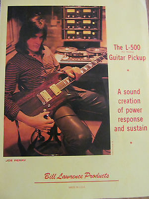 Joe Perry, Aerosmith, Bill Lawrence Pickups, Full Page Vintage Promotional Ad