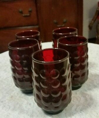Vintage ROYAL RED RUBY Juice Glasses Tumblers Anchor Hocking 6 oz Set/5 - EUC