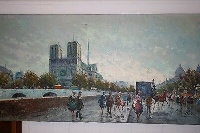 Oil Painting on Canvas Paris France Street Scene Signed Rocco Impressionist LRGE