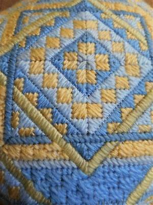 Bargello Mid Century Modern Geometric Finished Completed Vtg Needlepoint Pillow