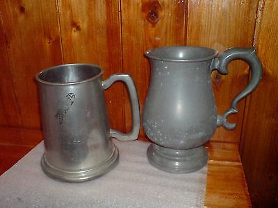 Two Vintage Pewter Tankards