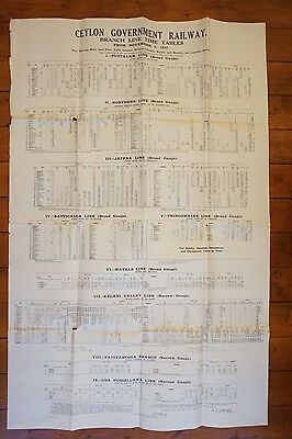 1937 Ceylon Government Branch Lines Railway Timetable Poster