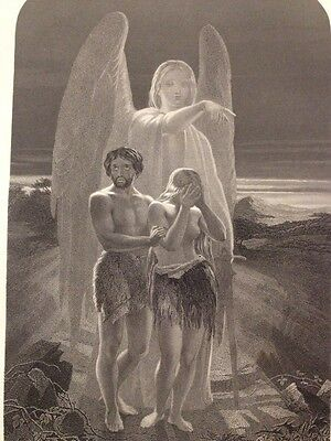 1850s Bible Engraving The Expulsion From Eden - Tenniel - W Holl - Blackie & Son