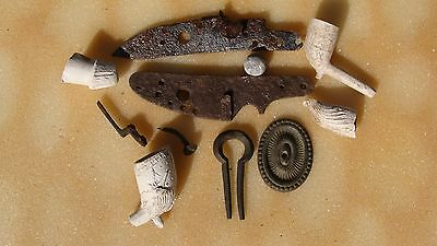 CREEK INDIAN SITE TRADE PIPE JEWS HARP FLINT LOCK PARTS BALL Arrowhead ~6~