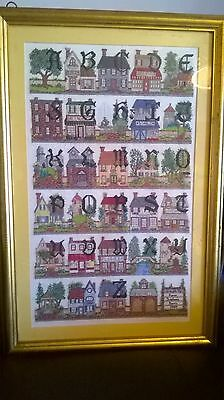 Gorgeous alphabet completed cross stitch professionally framed