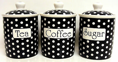 Black Dots Tea Coffee Sugar Canisters Bone China Jars Set Hand Decorated in UK