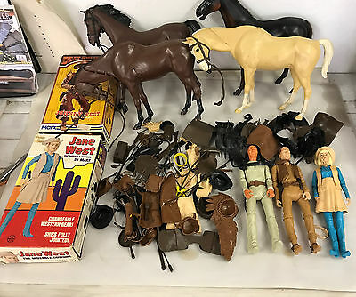 Huge Lot Vintage Johnny West Marx Toys Figures Accessories 4 Horse