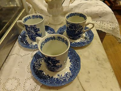 3 Sets Romantic England J & G Meakin Blue And White Cups And Saucers