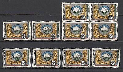 1972 25c RICE, 10 STAMPS, USED