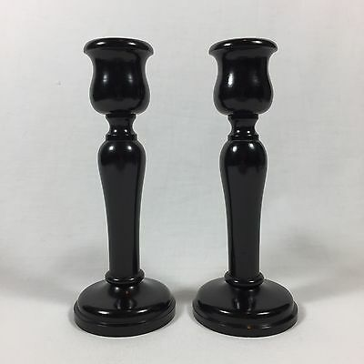 Antique Ebony Wood Candlesticks Vintage Wooden Candlestick Holders Candle Stick