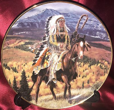 Franklin Mint Western Heritage Museum Plate Guarding The Plains Native American