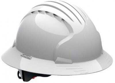 Evolution Deluxe 6161 280-EV6161-10 Full Brim Hard Hat With HDPE Shell, 6-Point