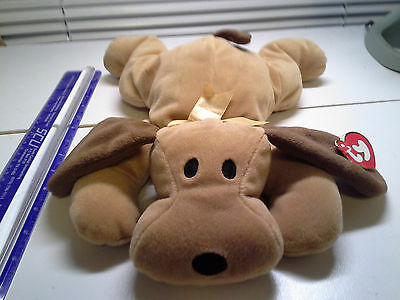 """14"""" Pillow Pals Collection TY 1994 WOOF the Brown PUPPY DOG Plush Stuffed Animal"""