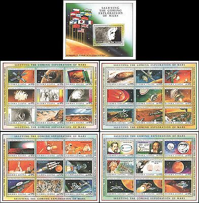 "Sierra Leone #1167-1171 MNH with ""face"" on Mars"