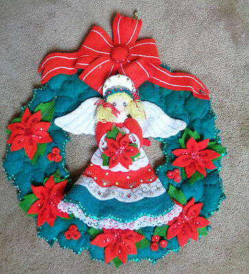 Vintage Felt Christmas Wreath Large with Angel and Sequins