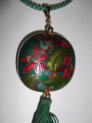 """Vintage Cloisonne green floral red lily Pendant 27"""" Necklace with Silk Tassel"""