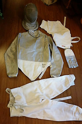Electric Sabre Mask w/ Triplette Fencing Gear Mixed Lot Sz 28 pants 36 Top Used
