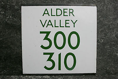 Vintage Bus Green Enamel Sign E Plate Route 300 310 Alder Valley Hants & Surrey