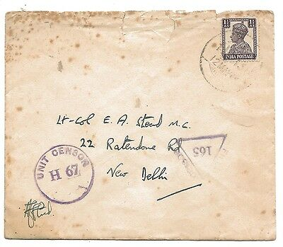 WW2 Taj Bombay stationary Indian FPO and Double Censored Cover